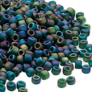 seed bead, dyna-mites™, glass, transparent frosted rainbow peacock, #6 round. sold per 1/2 kilogram pkg.