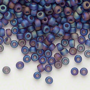 seed bead, dyna-mites™, glass, transparent frosted rainbow purple, #6 round. sold per 1/2 kilogram pkg.