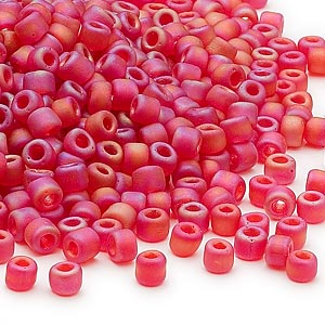 seed bead, dyna-mites™, glass, transparent frosted rainbow ruby red, #6 round. sold per 40-gram pkg.