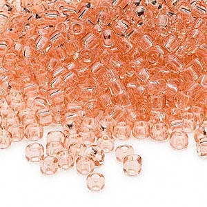 seed bead, dyna-mites™, glass, transparent light peach, #6 round. sold per 40-gram pkg.
