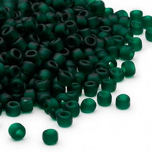 seed bead, dyna-mites™, glass, transparent matte dark green, #6 round. sold per 1/2 kilogram pkg.