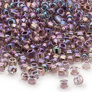 seed bead, dyna-mites™, glass, transparent rainbow inside lilac, #6 round. sold per 40-gram pkg.