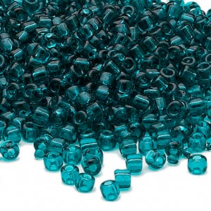 seed bead, dyna-mites™, glass, transparent teal, #6 round. sold per 1/2 kilogram pkg.