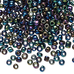 seed bead, glass, opaque metallic rainbow green, #6 round. sold per 20-gram vial.