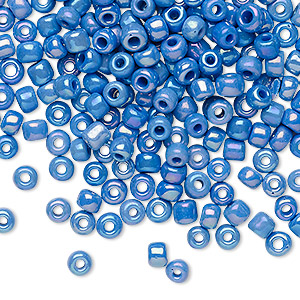 seed bead, glass, opaque rainbow medium blue, #6 round. sold per 20-gram vial.