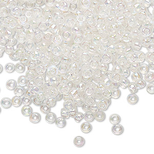 seed bead, glass, transparent rainbow crystal clear, #8 round. sold per 20-gram vial.