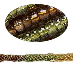 seed bead, glass, transparent silver-lined brown / green / gold, #11 round. sold per pkg of (10) 16-inch strands.