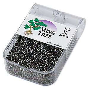 seed bead, ming tree™, glass, opaque iris moss, #11 round. sold per 1/4 pound pkg.