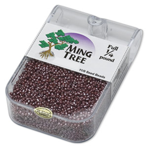 seed bead, ming tree™, glass, opaque luster brown, #11 round. sold per 1/4 pound pkg.