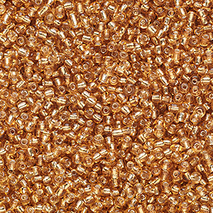 seed bead, ming tree™, glass, silver-lined translucent tan, #11 round. sold per 1-pound pkg.