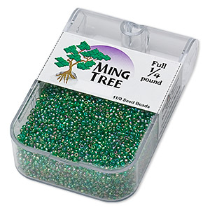 seed bead, ming tree™, glass, translucent rainbow emerald green, #11 round. sold per 1/4 pound pkg.
