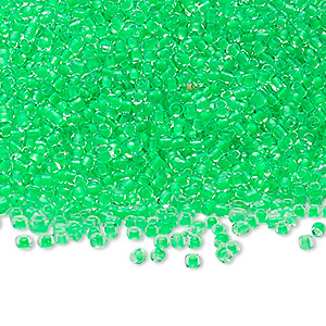 seed bead, ming tree™, glass, transparent color-lined bright green, #11 round. sold per 1-pound pkg.