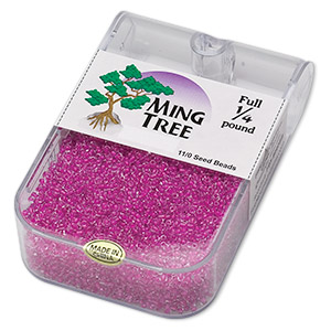 seed bead, ming tree™, glass, transparent color-lined fuchsia, #11 round. sold per 1/4 pound pkg.