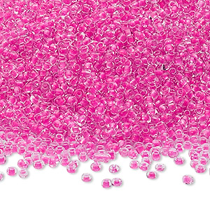 seed bead, ming tree™, glass, transparent color-lined hot pink, #11 round. sold per 1-pound pkg.