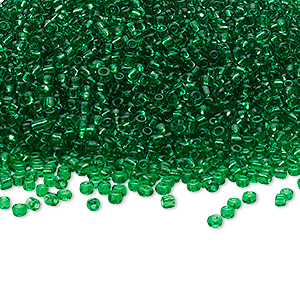 seed bead, ming tree™, glass, transparent emerald green, #11 round. sold per 1-pound pkg.
