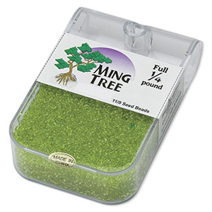 seed bead, ming tree™, glass, transparent lime green, #11 round. sold per 1/4 pound pkg.