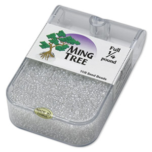 seed bead, ming tree™, glass, transparent luster clear, #11 round. sold per 1/4 pound pkg.
