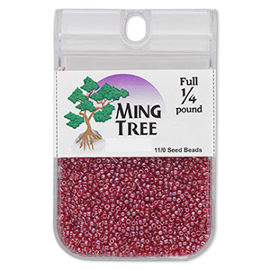 seed bead, ming tree™, glass, transparent luster ruby red, #11 round. sold per 1/4 pound pkg.