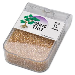 seed bead, ming tree™, glass, transparent luster tan, #11 round. sold per 1/4 pound pkg.