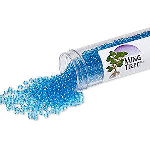 seed bead, ming tree™, glass, transparent ocean blue, #11 round. sold per 4 x 3/4 inch vial.