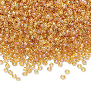 seed bead, ming tree™, glass, transparent rainbow tan, #11 round. sold per 1-pound pkg.