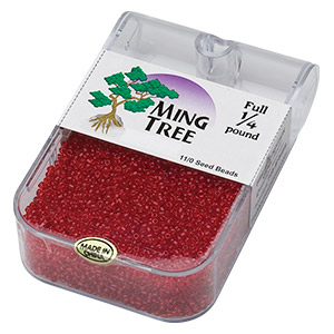 seed bead, ming tree™, glass, transparent red, #11 round. sold per 1/4 pound pkg.