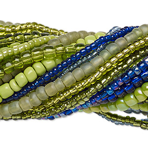 seed bead mix, glass, mixed colors, #10 / #8 / #6 round. sold per pkg of (20) 14-inch strands.