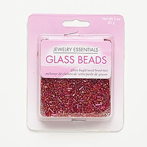 seed bead mix, glass, red and pink, 1.2mm-5x2mm mixed shape. sold per 85-gram pkg, approximately 8,000 beads.