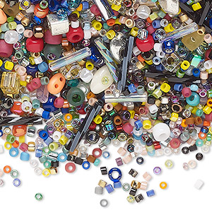 seed bead mix, matsuno and miyuki, glass, opaque to transparent mixed colors, #8 / #11 / #15 round. sold per 100-gram pkg.