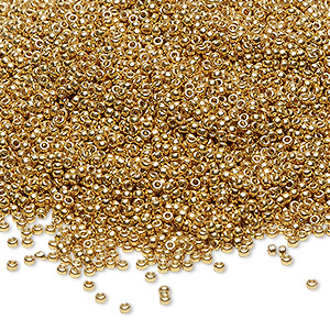 seed bead, miyuki, duracoat opaque galvanized gold, (rr4202), #15 rocaille. sold per 35-gram pkg.