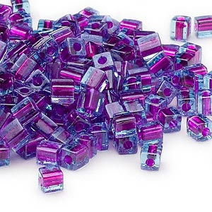 seed bead, miyuki, glass, blue color-lined purple, (sb2651), 3.5-3.7mm square. sold per 25-gram pkg.