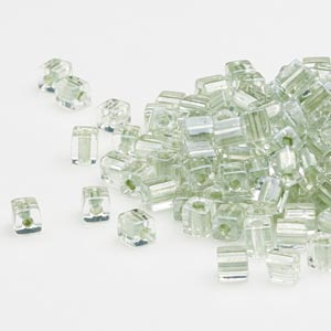 seed bead, miyuki, glass, clear color-lined metallic light green, (sb2604), 3.5-3.7mm square. sold per 25-gram pkg.