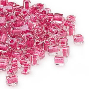 seed bead, miyuki, glass, clear color-lined metallic pink, (sb2603), 3.5-3.7mm square. sold per 25-gram pkg.