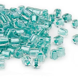 seed bead, miyuki, glass, clear color-lined metallic teal, (sb2605), 3.5-3.7mm square. sold per 250-gram pkg.