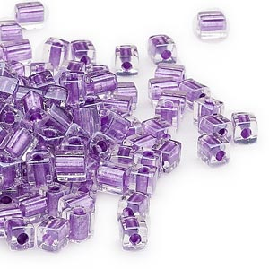 seed bead, miyuki, glass, clear color-lined metallic violet, (sb2607), 3.5-3.7mm square. sold per 250-gram pkg.