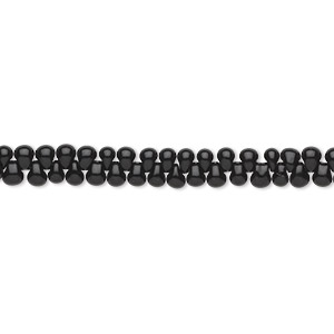 seed bead, miyuki, glass, opaque black, (dp401), 3.3x2.8mm mini fringe. sold per 10-gram pkg.