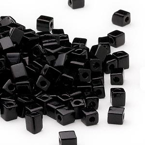 seed bead, miyuki, glass, opaque black, (sb401), 3.5-3.7mm square. sold per 25-gram pkg.