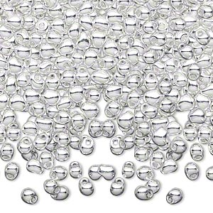 seed bead, miyuki, glass, opaque fine silver-finished, (dp961), 4x3.4mm fringe. sold per pkg of 250 grams.