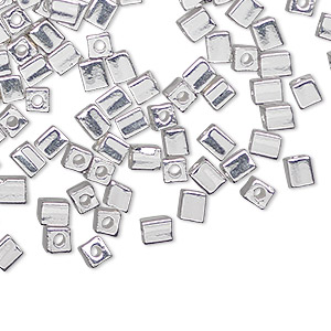 seed bead, miyuki, glass, opaque fine silver-finished, (sb961), 3.5-3.7mm square. sold per 25-gram pkg.