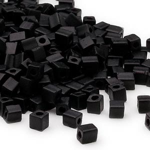 seed bead, miyuki, glass, opaque frosted black, (sb401f), 3.5-3.7mm square. sold per 25-gram pkg.