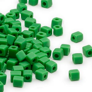 seed bead, miyuki, glass, opaque frosted green, (sb411f), 3.5-3.7mm square. sold per 25-gram pkg.