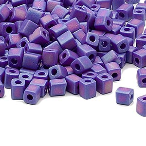 seed bead, miyuki, glass, opaque frosted rainbow cobalt, (sb414fr), 3.5-3.7mm square. sold per 250-gram pkg.