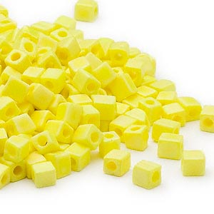 seed bead, miyuki, glass, opaque frosted rainbow yellow, (sb404fr), 3.5-3.7mm square. sold per 25-gram pkg.