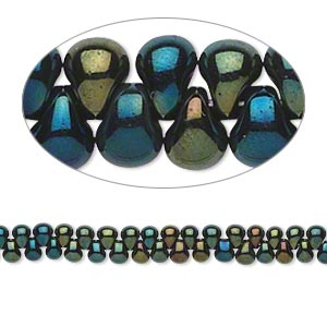 seed bead, miyuki, glass, opaque gunmetal dark green, (dp453), 3.3x2.8mm mini fringe. sold per 10-gram pkg.