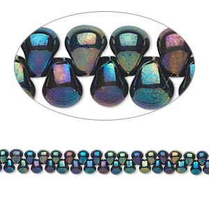 seed bead, miyuki, glass, opaque gunmetal mix blue, (dp455), 3.3x2.8mm mini fringe. sold per 10-gram pkg.