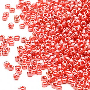 seed bead, miyuki, glass, opaque luster orange, (rr424), #15 rocaille. sold per 250-gram pkg.