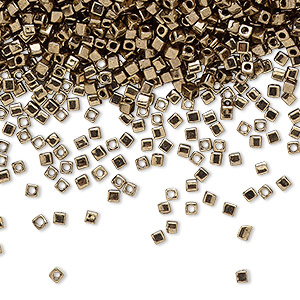 seed bead, miyuki, glass, opaque metallic dark gold, (sb457), 1.8mm square. sold per 25-gram pkg.