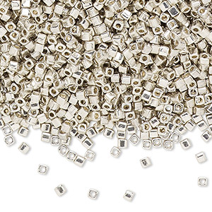 seed bead, miyuki, glass, opaque metallic galvanized silver, (sb1051), 1.8mm square. sold per 25-gram pkg.