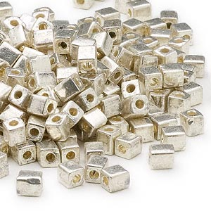 seed bead, miyuki, glass, opaque metallic silver, (sb1051), 3.5-3.7mm square. sold per 25-gram pkg.