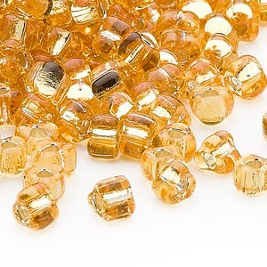 seed bead, miyuki, glass, silver-lined translucent amber yellow, (tr1102), #5 triangle. sold per 25-gram pkg.